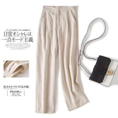 春夏の綿麻の百足の広いズボンの亜麻のカジュアルなズボンOLの職業の女性のズボンのゆったりしている9分のズボンの女性