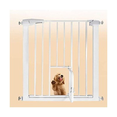 ベビーゲート、幼児用の猫のドアの階段ゲート付きペットゲート簡単なステップウォークスルーゲート