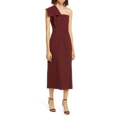 アディアム ワンピース トップス レディース Ruffle One-Shoulder Twill Midi Dress Burgundy