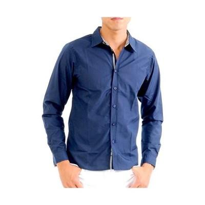 (スペイド) SPADE シャツ メンズ ブロード チェック テープ Yシャツ カッターシャツ 長袖e588 (ネイビー XL)