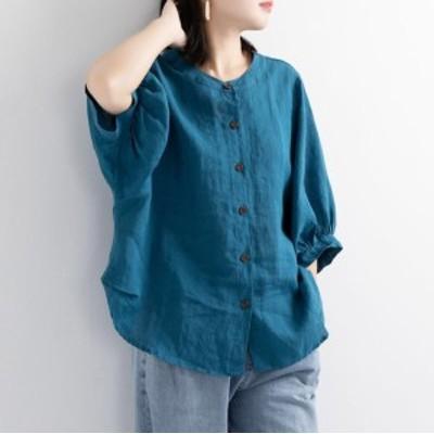 リネンシャツ 綿麻ブラウス 新作 レディース 薄型 綿麻 五分袖Tシャツ トップス 無地 体型カバー ゆったり 大きいサイズ 送料無料