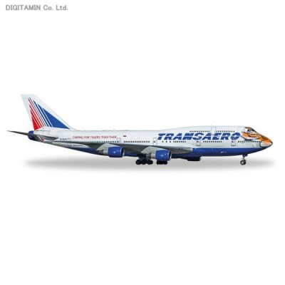 """送料無料◆ヘルパ 1/200 ボーイング 747-400 トランスアエロ航空 """"Amur Tiger"""" EI-XLN 完成品 557917(ZM20356)"""