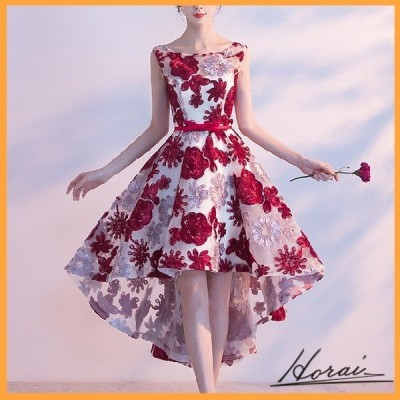 パーティードレス ノースリーブ 花柄 刺繍 ワンピース フォーマル 結婚式 二次会 秋冬 パーティー 20代 30代 40代 お取り寄せ