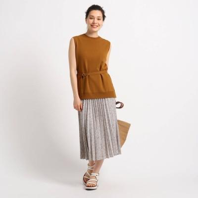 インディヴィ INDIVI [S]ニットプルオーバープリーツスカート セットアップ (キャメル)