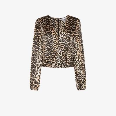 ガニー GANNI レディース ブラウス・シャツ トップス leopard print silk blouse brown
