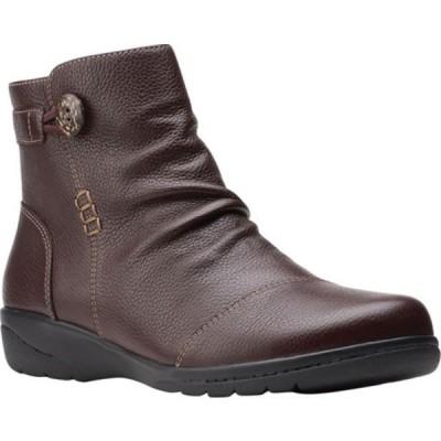 クラークス ブーツ&レインブーツ シューズ レディース Cheyn Zoe Slouch Bootie (Women's) Dark Brown Full Grain Leather
