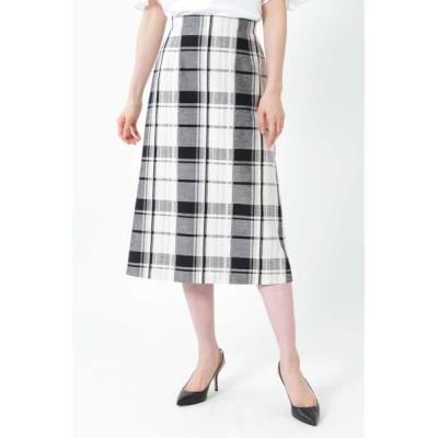 NATURAL BEAUTY/ナチュラルビューティー ◆[WEB限定商品]ビッグチェックロングタイトスカート ホワイト 38