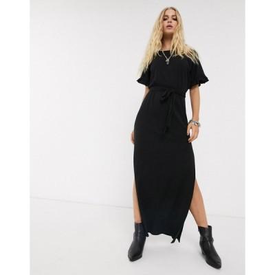 エイソス マキシドレス レディース ASOS DESIGN frill sleeve belted maxi dress in black エイソス ASOS ブラック 黒
