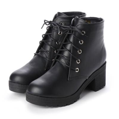 マフモフ Mafmof Mafmof(マフモフ) BLACKレースアップショートブーツ (ブラック・PU)