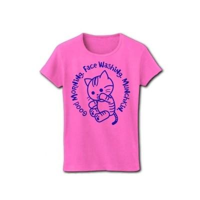 おはよう!マンチカン猫(ブルー) リブクルーネックTシャツ(ピンク)