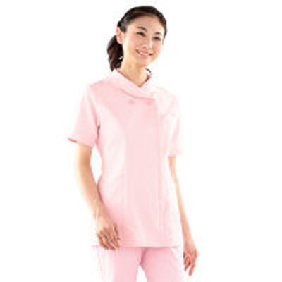 KAZENKAZEN レディスジャケット半袖 (ナースジャケット) 医療白衣 ピンク 3L 104-23(直送品)