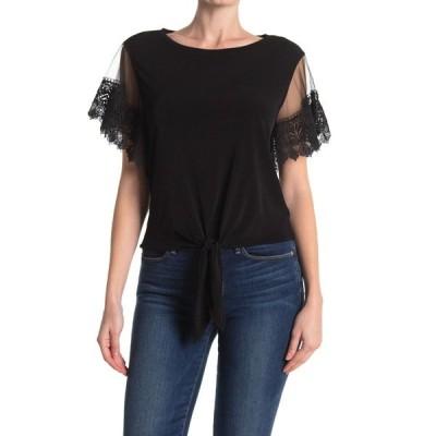 ランドリーバイシェリーシーガル レディース シャツ トップス Lace Sleeve Tie Front Top BLACK