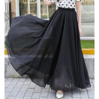 チュールスカート シフォンロングマキシスカート ふんわり程よいボリュームで大人かわいい♪