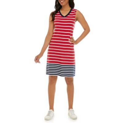 キム ロジャース レディース ワンピース トップス Women's Sleeveless V-Neck Printed Dress