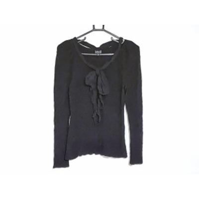 エポカ EPOCA 長袖セーター サイズ40 M レディース - 黒 Vネック/リボン【還元祭対象】【中古】20200828
