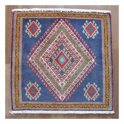 ギャッベ イラン産ギャベ(カシュガイ) 座布団サイズ59×60cm 天然ウール100% 草木染め 手織り ラグ (品番:ZP-1373)