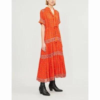 フリーピープル ワンピース rare feelings floral-print woven midi dress Red combo