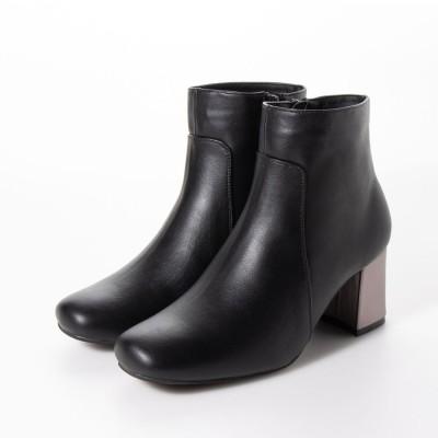 シューファンタジー Shoe Fantasy スクエアトゥ ショートブーツ (blackスムース)