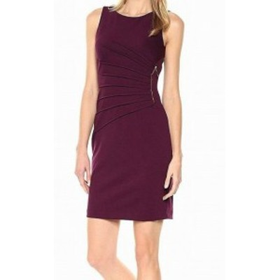 Ivanka Trump イバンカトランプ ファッション ドレス Ivanka Trump Womens Purple Size 2 Ruched Side Zip Sheath Dress