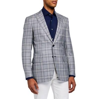 ブリオーニ メンズ ジャケット・ブルゾン アウター Men's Plaid Two-Button Jacket