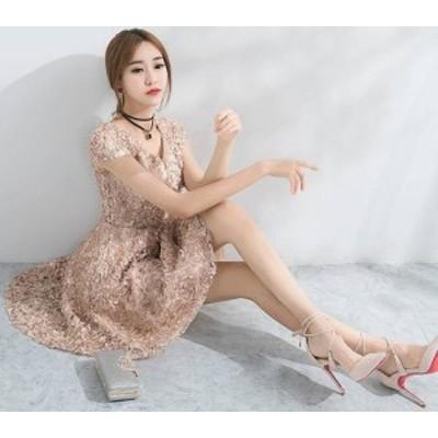 韓国 ファッション レディース パーティードレス ワンピース 総レース 袖あり フェミニン 二次会 花柄 ミニ丈 お呼ばれ 結婚式 二次会