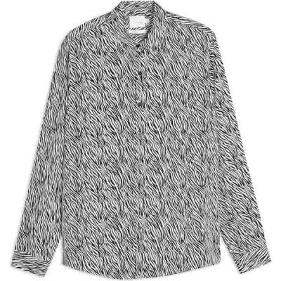 トップマン TOPMAN メンズ シャツ トップス prem ls gothic zebra patterned shirt White