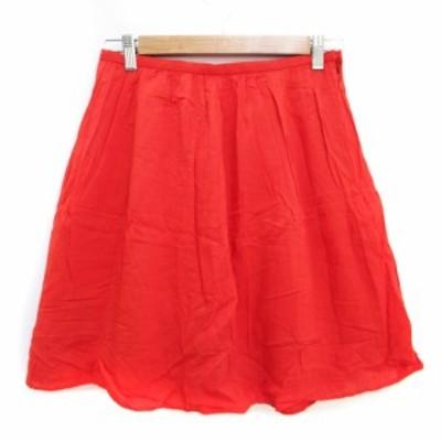 【中古】ボンメルスリー BON MERCERIE スカート フレア ギャザー ひざ丈 38 オレンジ /FF36 レディース