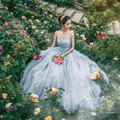 !ウエディングドレスparty dress☆ロングドレス結婚式二次会パーティー エンパイアドレス編み上げ 舞台服写真撮影