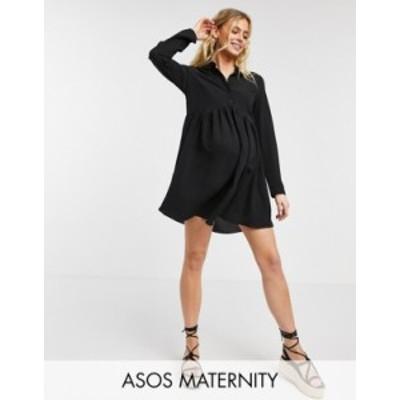 エイソス レディース ワンピース トップス ASOS DESIGN Maternity smock mini shirt dress in black Black