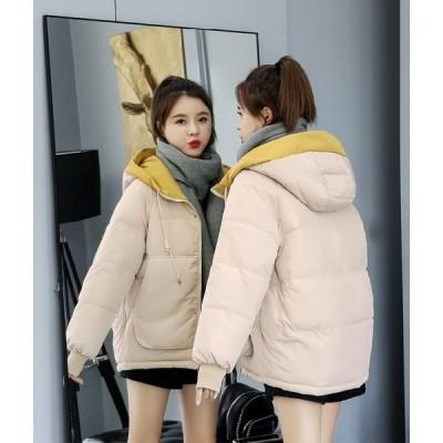 中綿コート  中綿ジャケット ショート丈 厚手 冬アウター 通勤通学 フード付き