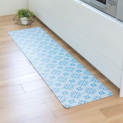 オカ(OKA)) 拭けるキッチンマット 約45cm×180cm ブルー(タイル)(拭くだけ PVC ビニール)