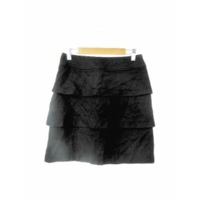 【中古】PROPORTION BODY DRESSING スカート ティアード ミニ ジップフライ ウール 2 黒 ブラック /KS2 レディース