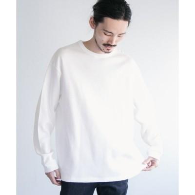 tシャツ Tシャツ ロングスリーブ度詰めワッフルルーズクルーネック
