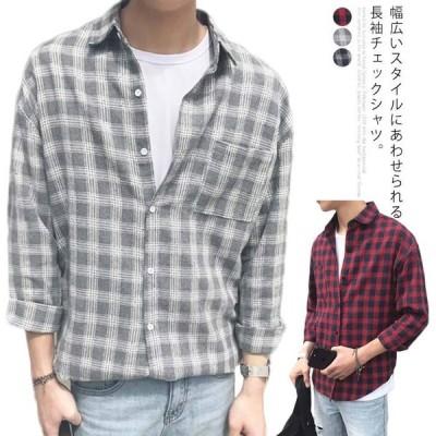 送料無料 シャツ チェックシャツ メンズ 長袖シャツ カジュアルシャツ 長袖 チェック柄 トップス 薄手 ゆったり ゆるシャツ 前開き 折り襟 体型カ