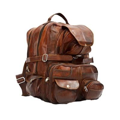 "Messenger of Leather Vintage Back Pack With Multiple Large Pockets 16"" x 11"" x 11"" Brown 並行輸入品"