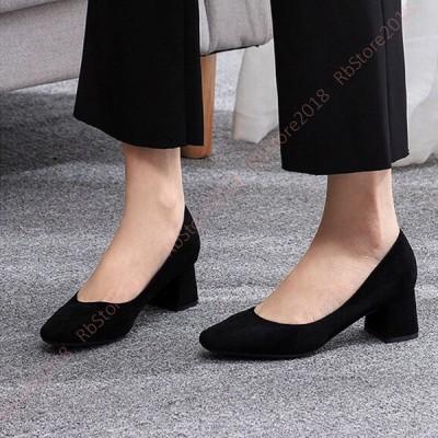 パンプス レディース 仕事靴 革靴 歩きやすい 痛くない 通勤 通学 面接 チャンキーヒール 5cm ヒール パンプス レザー シューズ 低ヒール 秋 スクエアトゥ