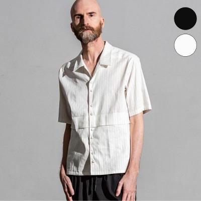 C DIEM(カルペディエム)ストライプ開襟シャツ(ブラック/ホワイト)