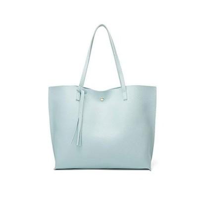 WUAI Women's Handbag and Purses Fashion Soft Faux Leather Tote Shoulder Bag Big Capacity Crossbody Messenger Bag Blue【並行輸入品】