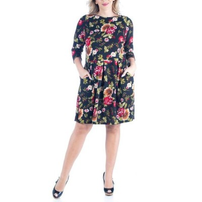 24セブンコンフォート レディース ワンピース トップス Women's Plus Size Fit and Flare Party Dress