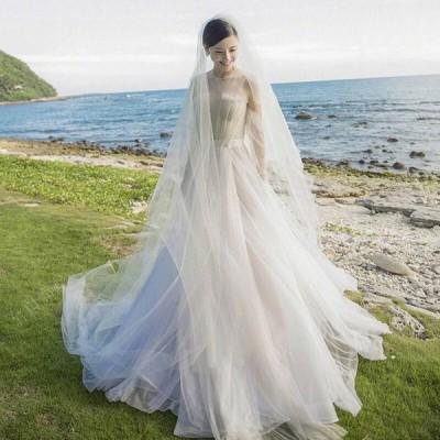 ウェティグドレス 長袖 Aラインドレス  ロングドレス 結婚式 パーティードレス 安い 大きいサイズ  二次会 海外挙式 花嫁 ドレス トレーン おしゃれ