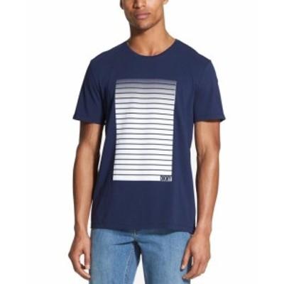 DKNY ダナキャランニューヨーク ファッション トップス DKNY Mens Blue Size Medium M Gradient Logo Graphic Crewneck Tee T-Shirt
