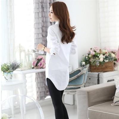 シャツ レディース ロングシャツ ゆったり チュニック トップス 白シャツ オフィス 体型カバー カジュアルシャツ ブラウス 無地 大きいサイズ 30代 40代 50代
