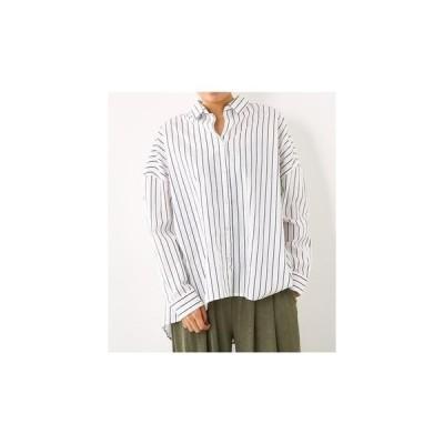 RODEO CROWNS WIDE BOWL ストライプビッグシャツ 柄ホワイト