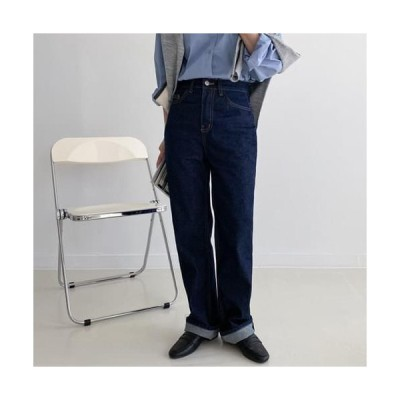 MINIBBONG レディース ジーンズ Five Raw Denim Long Wide Pants-XL Same day shipping