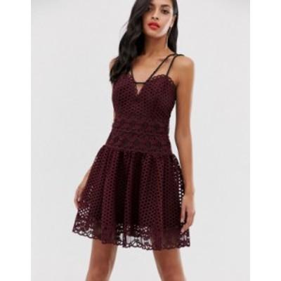 エイソス レディース ワンピース トップス ASOS DESIGN mini dress in basket weave lace with rope trim Burgundy