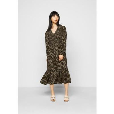 レディース ドレス ONLJESS CALF DRESS - Day dress - black/yellow