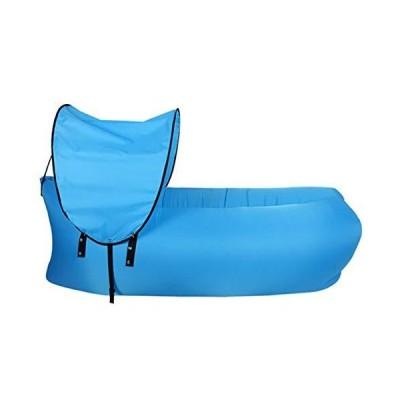 (新品) FANLI Foldable Portable Air Mattress, Lazy Air Bed Outdoor Inflatable Lounger Waterproof Durable-Blue 240x70cm(94x28inch)
