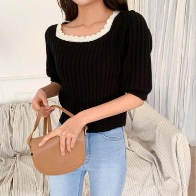 ENVYLOOK レディース ニット/セーター Square Lace Knitwear