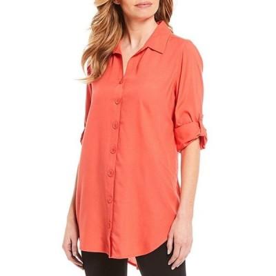 イントロ レディース シャツ トップス Lyocell Long Roll-Tab Sleeve Button Down Shirt