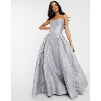 バリアーノ レディース ワンピース トップス Bariano sweetheart neck prom dress in frosty gray